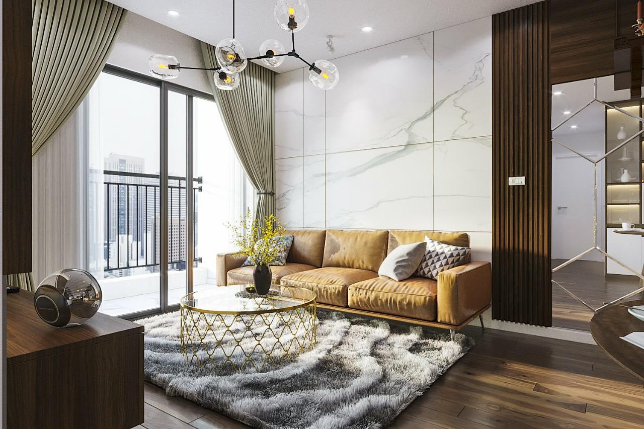 Thiết kế nội thất căn hộ chung cư 2 phòng ngủ  đẹp Kosmo Tây Hồ -Hà Nội