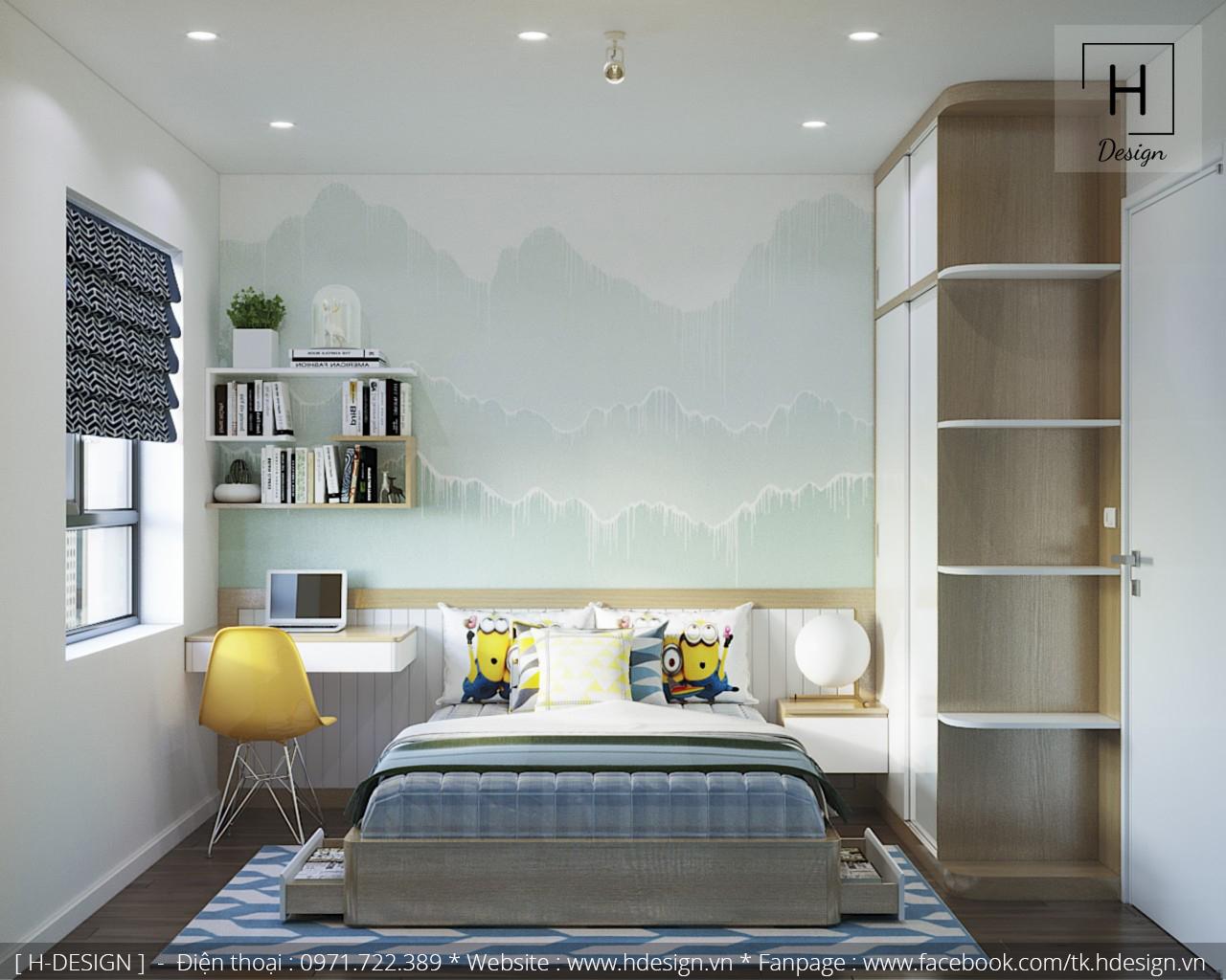 Thiết kế nội thất phòng ngủ con tại căn hộ 2 phòng ngủ Kosmo Tây Hồ 1