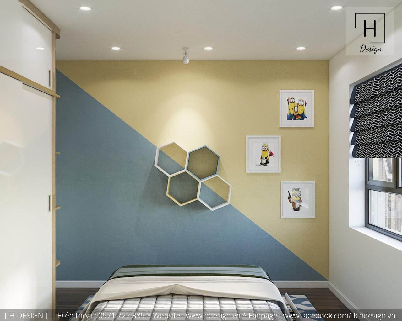 Thiết kế nội thất phòng ngủ con tại căn hộ 2 phòng ngủ Kosmo Tây Hồ