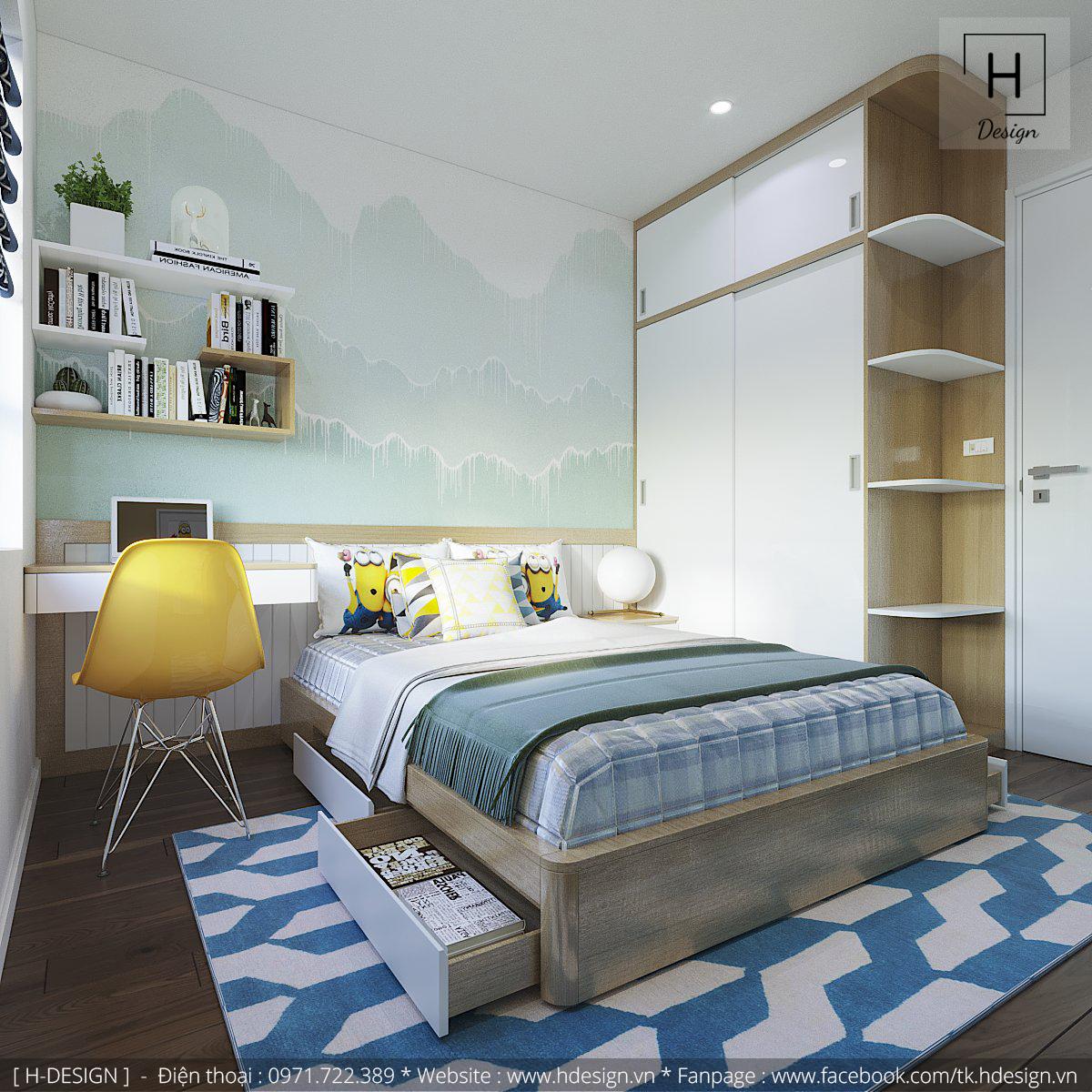 Thiết kế nội thất phòng ngủ con cho không gian căn hộ chung cư 2 phòng ngủ tại Kosmo Tây Hồ