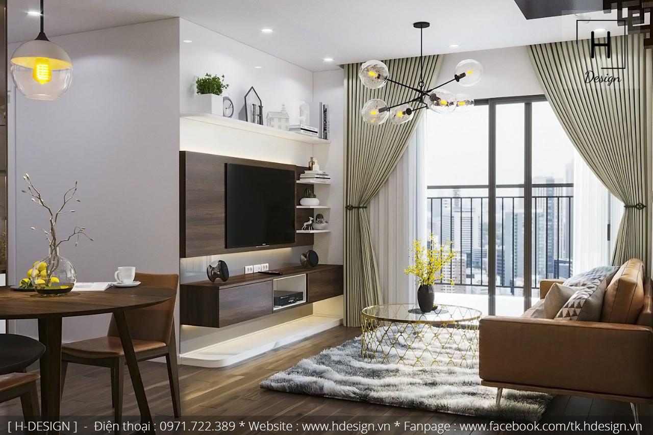 Thiết kế nội thất phòng khách chung cư đẹp tại KOSMO