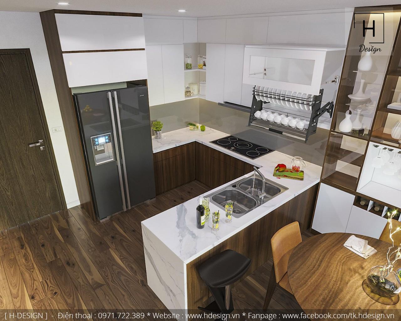Thiết kế không gian bếp hiện đại tiện nghi cho căn hộ chung cư 2 phòng ngủ tại Kosmo Tây Hồ