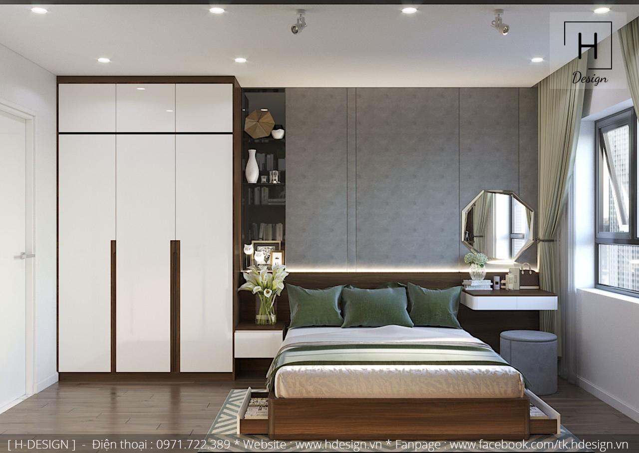 Thiết kế nội thất phòng ngủ cho căn hộ 2 phòng ngủ tại Kosmo Tây Hồ