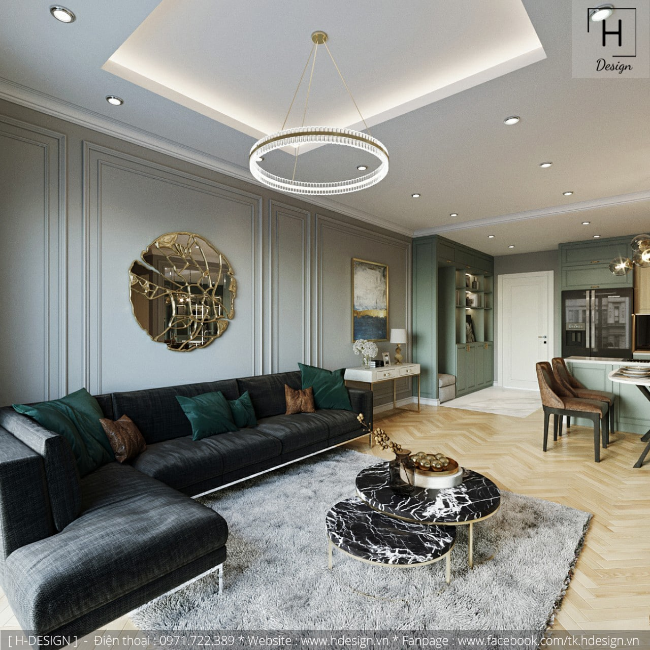 Thiết kế thi công nội thất chung cư Kosmo tại Hà Nội