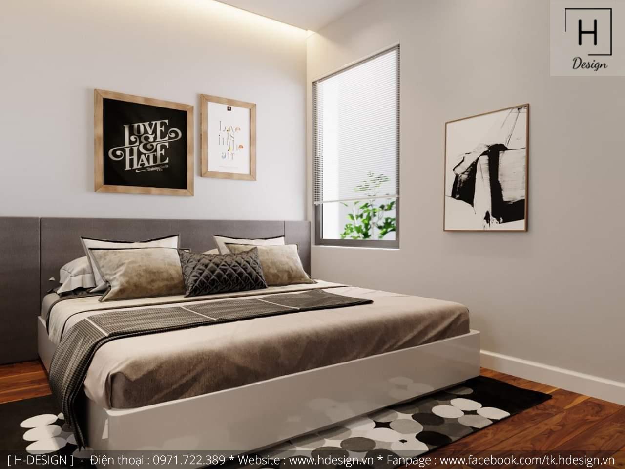 Thiết kế thi công nội thất phòng ngủ căn hộ chung cư 2 phòng ngủ đẹp tại Hà Nội 3