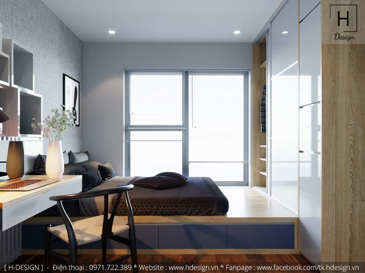 Thiết kế thi công nội thất phòng ngủ căn hộ chung cư 2 phòng ngủ đẹp  2