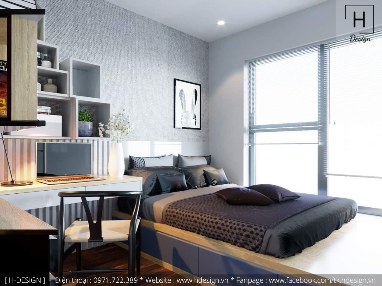 Thiết kế thi công nội thất phòng ngủ căn hộ chung cư 2 phòng ngủ đẹp