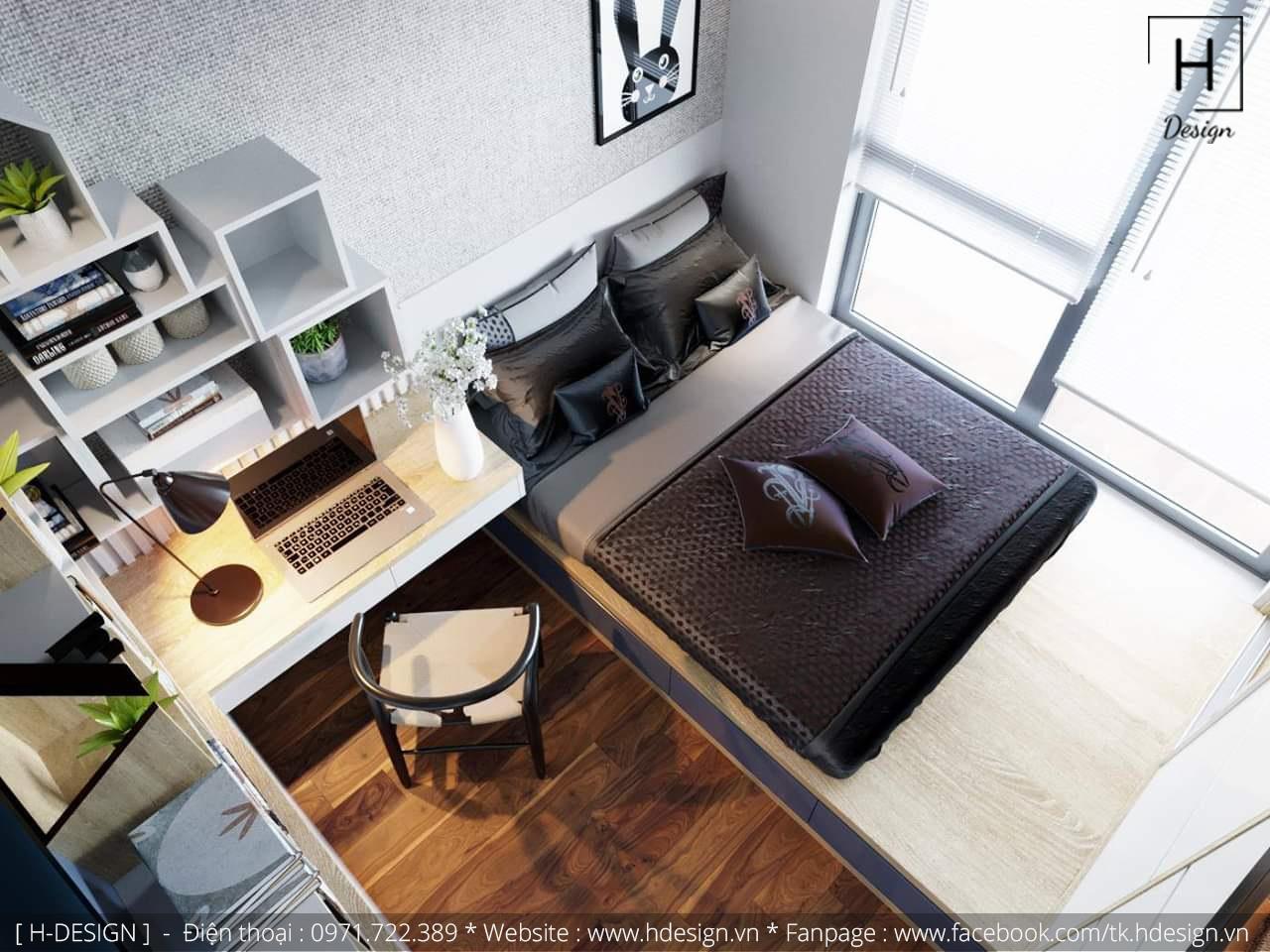 Thiết kế thi công nội thất phòng ngủ căn hộ chung cư 2 phòng ngủ đẹp  3