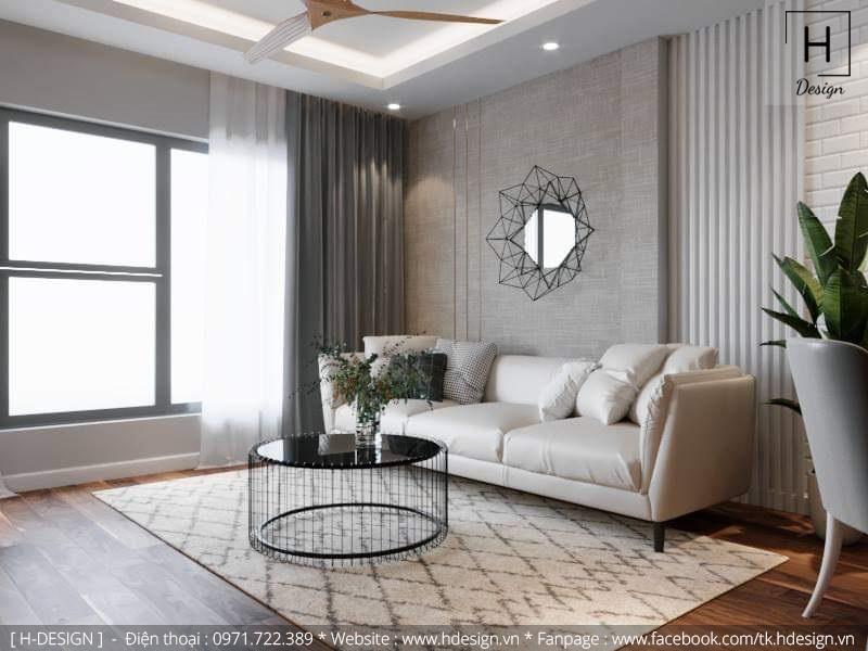 Thiết kế thi công nội thất phòng khách căn hộ chung cư 2 phòng ngủ đẹp