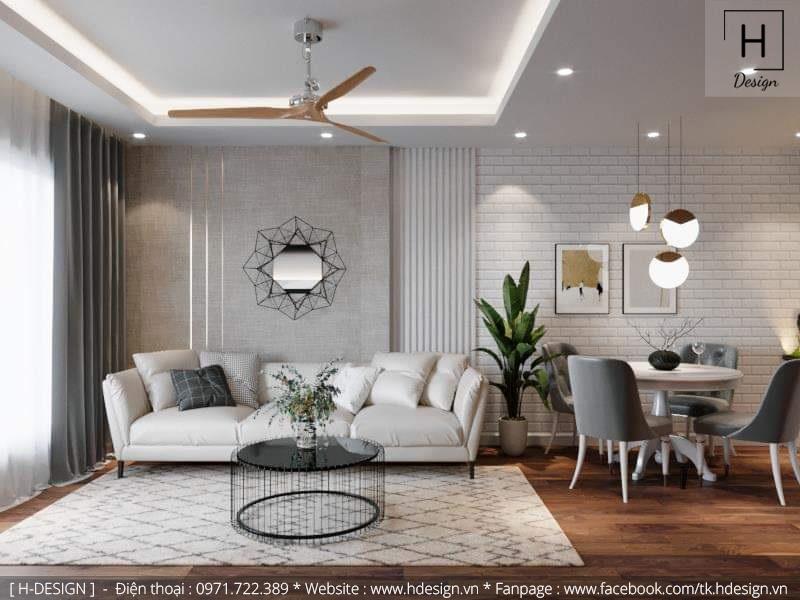 Thiết kế thi công nội thất phòng khách căn hộ chung cư 2 phòng ngủ đẹp 2