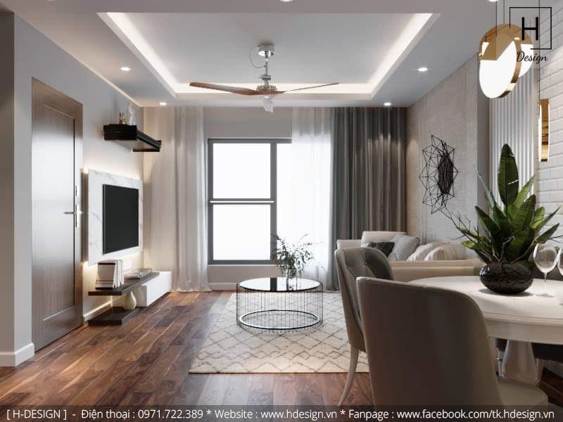 Thiết kế thi công nội thất phòng khách căn hộ chung cư 2 phòng ngủ đẹp tại Hà Nội