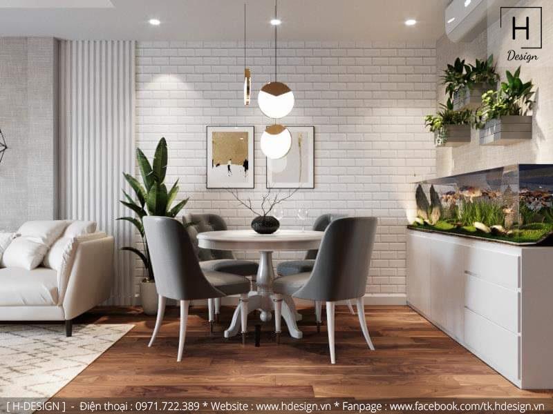 Thiết kế thi công nội thất phòng bếp căn hộ chung cư 2 phòng ngủ đẹp tại Hà Nội