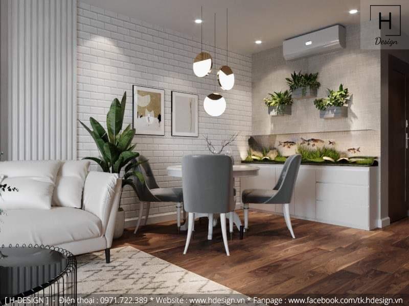 Thiết kế thi công nội thất phòng bếp căn hộ chung cư 2 phòng ngủ đẹp tại Hà Nội 2