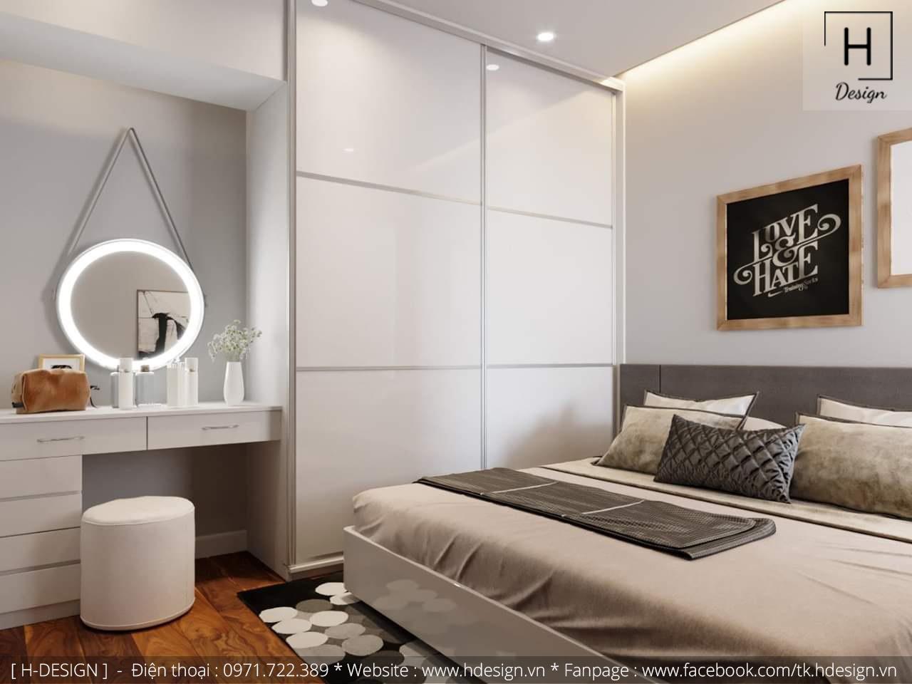 Thiết kế thi công nội thất phòng ngủ căn hộ chung cư 2 phòng ngủ đẹp tại Hà Nội 2