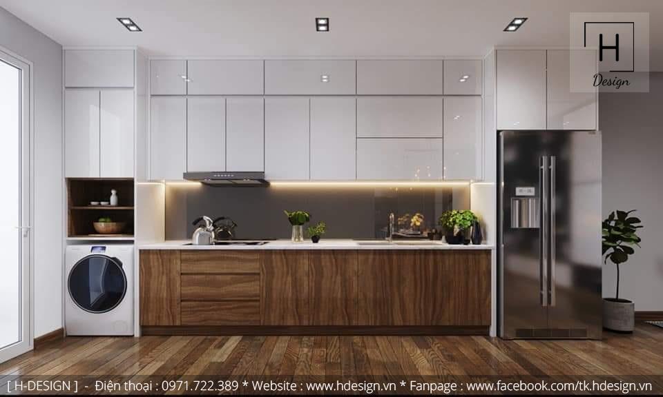 Thiết kế nội thất đẹp khu bếp cho căn hộ chung cư Kosmo  Tây Hồ - Hà Nội