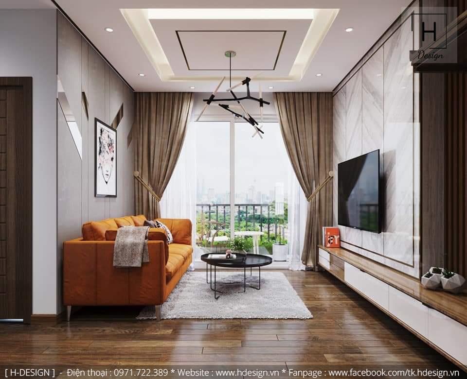 Thiết kế nội thất phòng khách đẹp cho căn hộ chung cư 2 phòng ngủ tại dự án Kosmo - Tây Hồ - Hà Nội