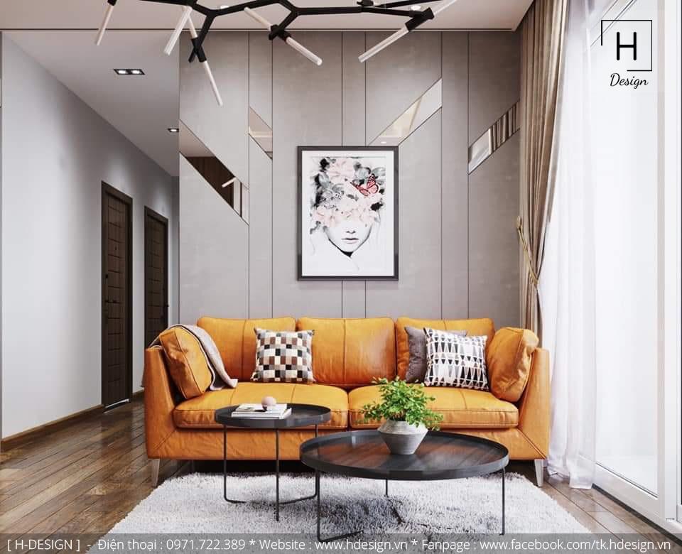 Thiết kế nội thất không gian phòng khách đẹp tại Kosmo Tây Hồ - Hà Nội