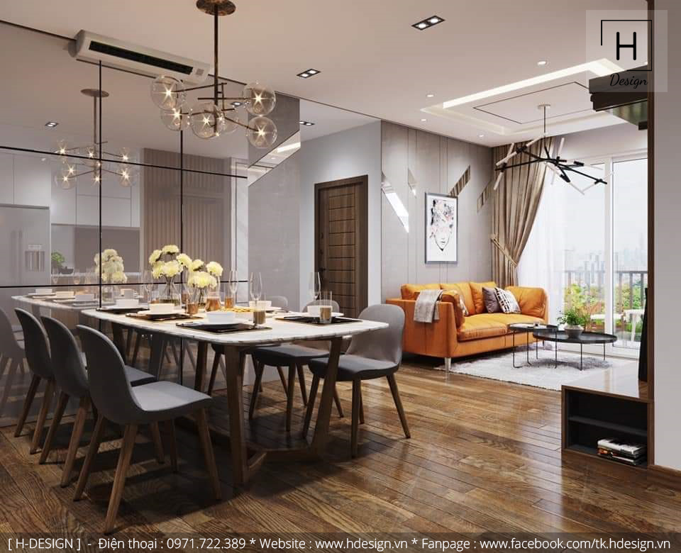 Thiết kế nội thất không gian phòng khách và bếp đẹp tại Kosmo Tây Hồ - Hà Nội