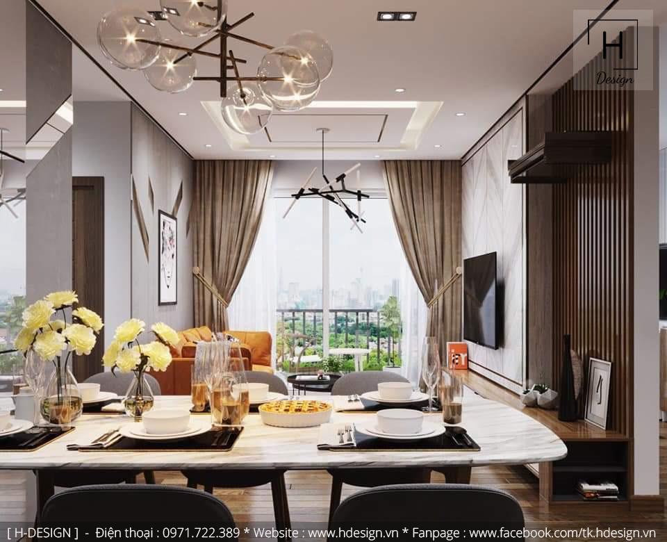 Thiết kế nội thất không gian phòng khách và bếp đẹp tại Kosmo Tây Hồ - Hà Nội 2