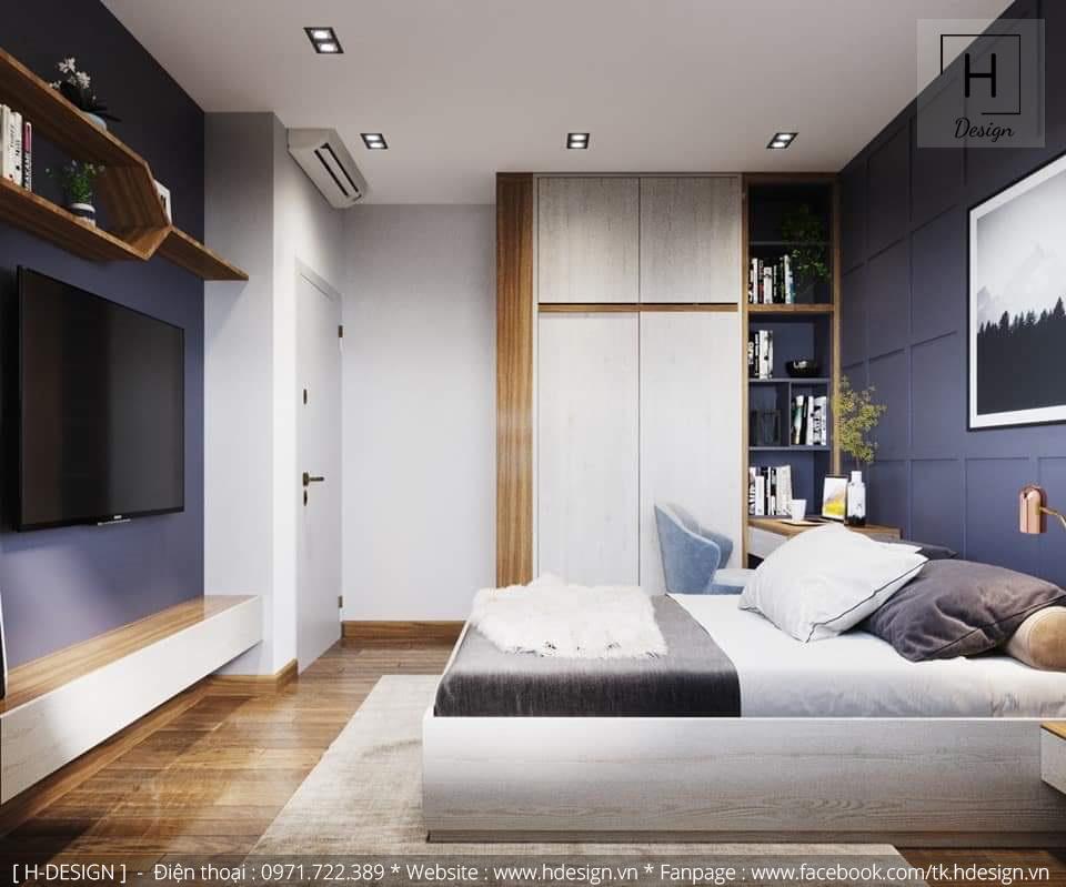 Thiết kế nội thất phòng ngủ hiện đại đơn giản và sang trọng cho căn hộ chung cư Kosmo