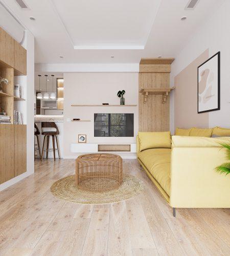 Mẫu thiết kế nội thất căn hộ chung cư 70m2 đẹp tại Long Biên – Hà Nội