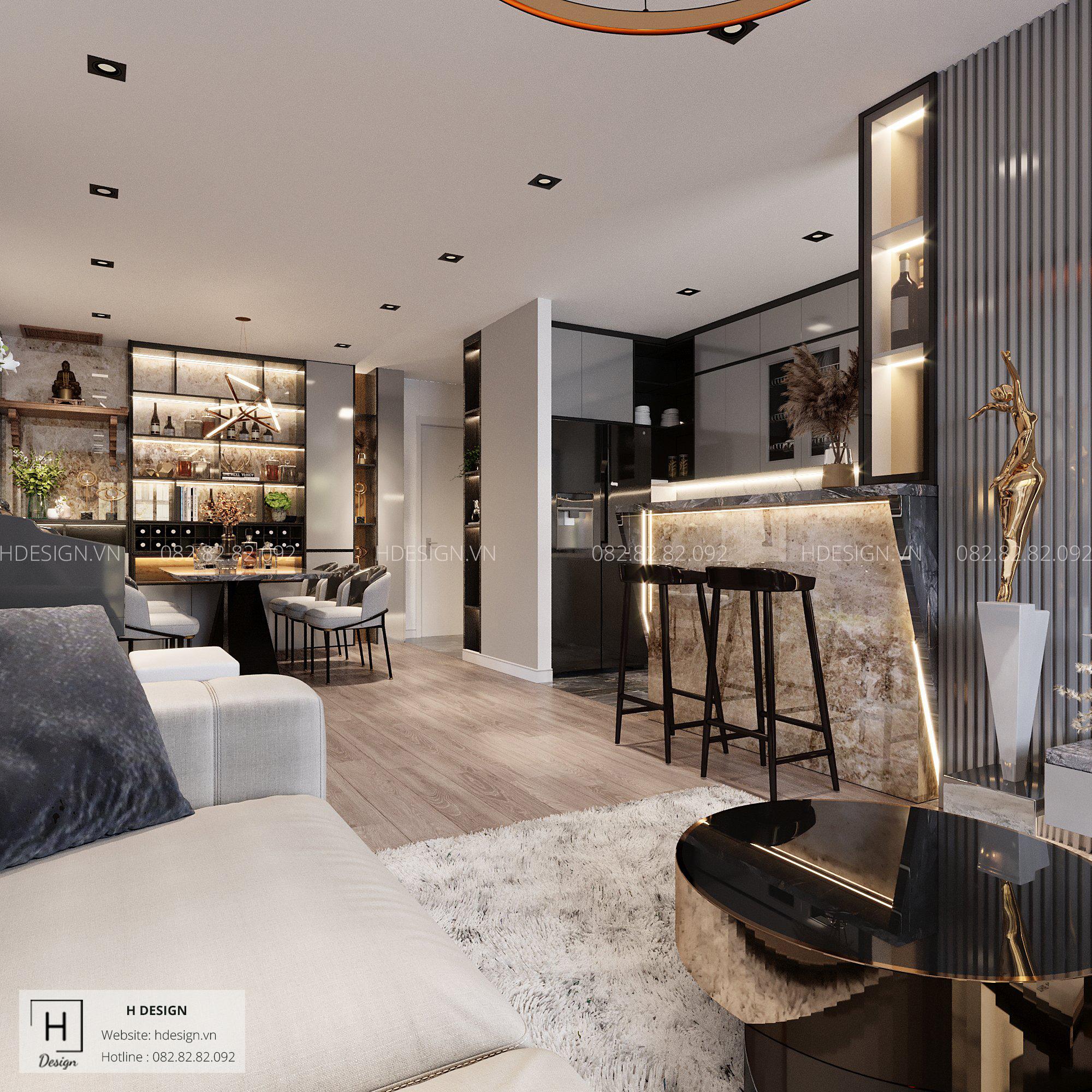 Thiết kế nội thất chung cư đẹp 2020 theo phong cách luxury tại chung cư Kosmo Tây Hồ, Hà Nội